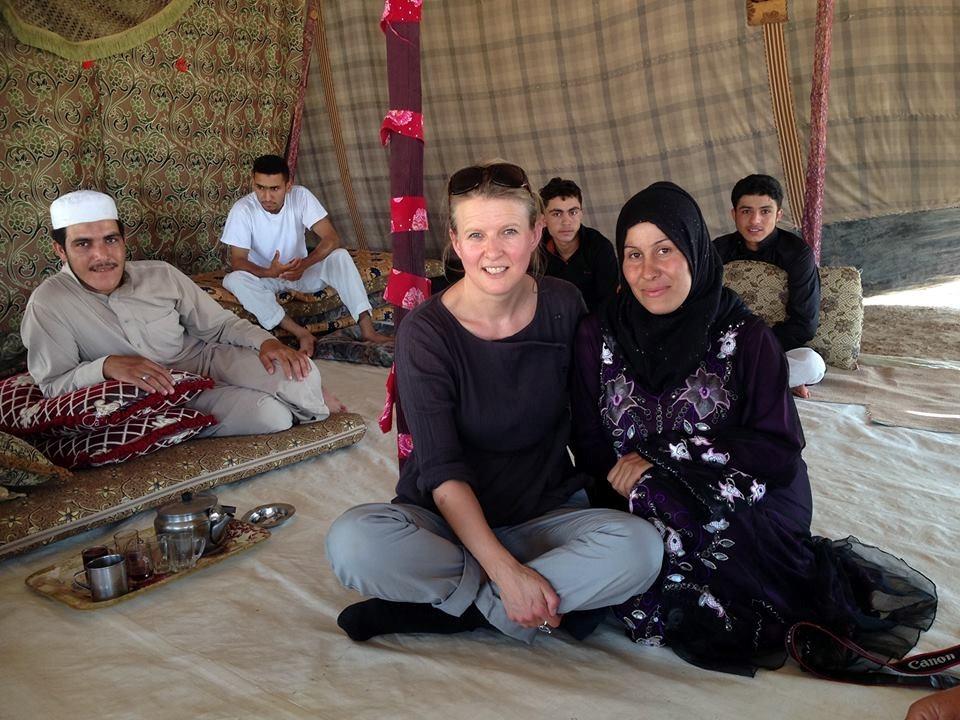 Blog author sharron meeting various refugees